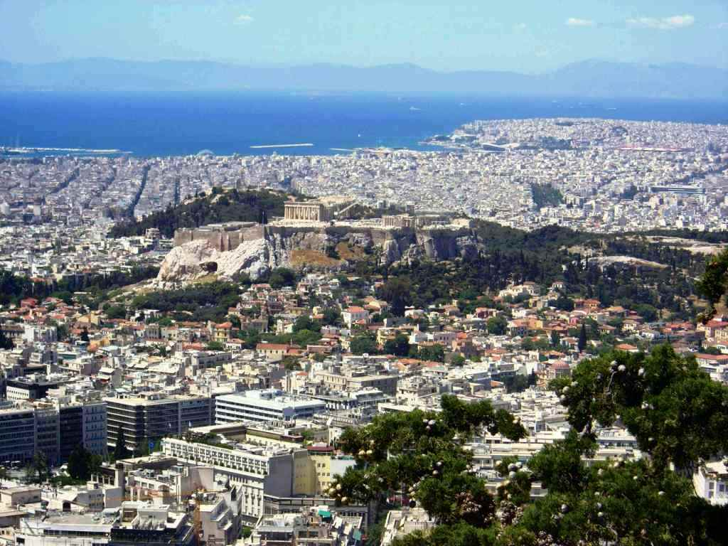 Widok na Ateny ze wzgórza Likabet