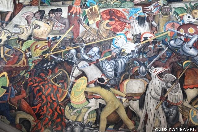 Freski w Palacio National Cortez na koniu