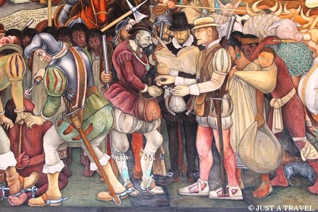 Hernan Cortes na freskach Diego Riviera w Palacio National