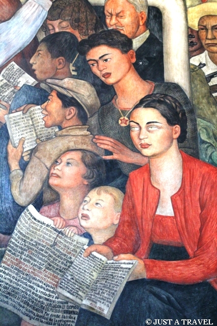 Frida Kahlo na obrazie Diego Riviera w Palacio National