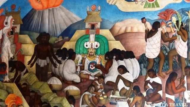Quetzalcoatl na malowidle Diego Riviera w Palacio National