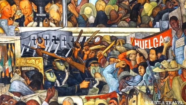 Walka robotników z silami konserwatywnymi na freskach Diego Riviera w Palacio National