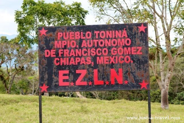 Zapatyści z Chiapas, Meksyk, szyld Zapatystów